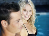 Blonde in the pool — Stock Photo
