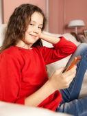 Young girl mobile phone — Stock Photo