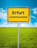 City sign of Erfurt — Stock Photo