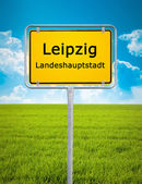 City sign of Leipzig — Stock Photo