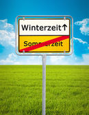 Daylight Saving german city sign — Foto de Stock