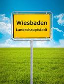 City sign of Wiesbaden — Stock Photo