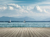 Sailing at Starnberg lake — Stock Photo