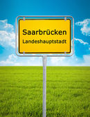 City sign of Saarbrucken — Stock Photo