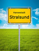 City sign of Stralsund — Stock Photo
