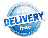 Free delivery button blue — Stockfoto