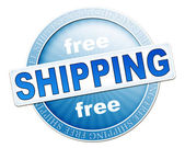 Free shipping button blue — Stock Photo