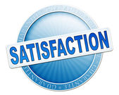 Satisfaction button blue — Stockfoto