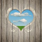 Wooden heart nature — Stockfoto