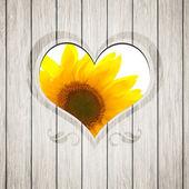 деревянные сердце подсолнечника — Стоковое фото