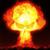 Nuclear bomb with skull — Stock Photo