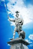 Male statue with a lance — Stock Photo