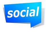 Label met tekst sociale — Stockfoto