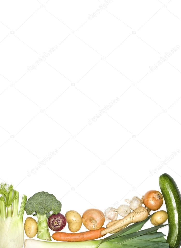 蔬菜作为一种框架在白色背景上– 图库图片
