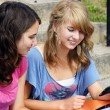 Stock Photo: Two students reading on cell phone
