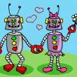 Robots in love — Stock Vector #12529830
