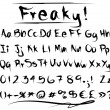 Freaky font alphabet - Stock Vector