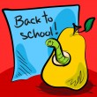 Back to school worm in pear — Stock Vector