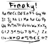 Freaky font alphabet — Stock Vector