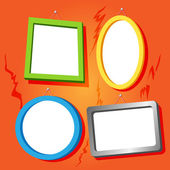 Frames on cracked wall — Stock Vector