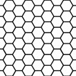 Seamless black honeycomb pattern over white — Imagen vectorial