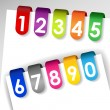 Colorful numbered paper tags — Stock Vector