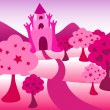 Pink castle landscape — Stock Vector