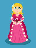 маленькая принцесса мультфильм с цветами — Cтоковый вектор