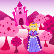 Princess and pink castle landscape — Stock Vector