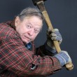 Insane old man with axe — Stock Photo #16258095
