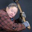 Insane old man with axe — Stock Photo