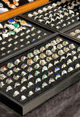 Handcrafted silver rings with natural stones — Stockfoto
