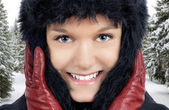 Young woman in the cold — Stock Photo