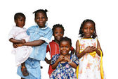 African kids all sisters isolated — Stock Photo