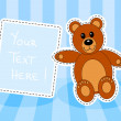 Teddy bear with blank sign in blue room — Stock Vector