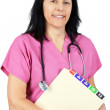 Friendly doctor in pink — Stock Photo