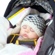 Newborn sleeping in car seat — Stock Photo #24374289