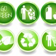 Green stickers set-2 — Stock Vector