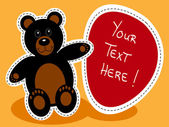 Cartoon black bear with sign — Vecteur