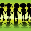 Stock Vector: Kid silhouettes holding hands
