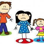 stick figura infeliz família — Vetorial Stock