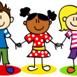 Stock Vector: Stick figure ethnic diversity kids