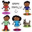 Stock Vector: Stick figure black family