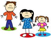 Stick figure unhappy family — Stock Vector