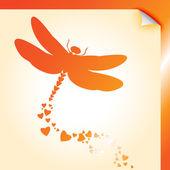 Dragongly arancione decalcomania — Vettoriale Stock