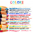 Colorful pencils and doodles — Stock Photo