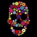 ������, ������: Flower skull in colors