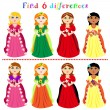 Stock Vector: Difference game with princesses