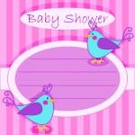 Bird baby shower invitation-girl — Stock Vector