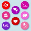 Stock Vector: Love web buttons-flat